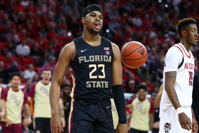 Feb 22, 2020; Raleigh, North Carolina, USA; Florida State Seminoles guard M.J. Walker (23) reacts after a foul in the second half against the North Carolina State Wolfpack at PNC Arena. Mandatory Credit: Jeremy Brevard-USA TODAY Sports