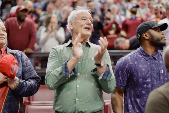 Comedy legend Bill Murray was in attendance for the Florida State vs. Louisville Cardinals men's basketball game on Monday, Feb. 24, 2020, in Tallahassee, Florida.