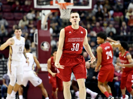 Feb 24, 2020; Tallahassee, Florida, USA; Louisville Cardinals guard Ryan McMahon (30) celebrates after a three point shot against the Florida State Seminoles during the first half at Donald L. Tucker Center. Mandatory Credit: Melina Myers-USA TODAY Sports