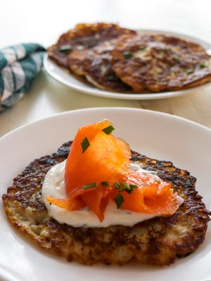 Irish Boxty with Smoked Salmon makes a savory appetizer.