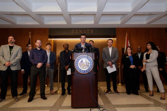 Dr. Kirk O'Donnell, senior medical advisor for the Veterans Cannabis Project (VCP), speaks during a press conference held by Sen. Jeff Brandes where he and the VCP came together to urge other legislators to oppose a cap on THC restrictions on medical marijuana and to address other veterans' health care needs at the Capitol Tuesday, Feb. 25, 2020.