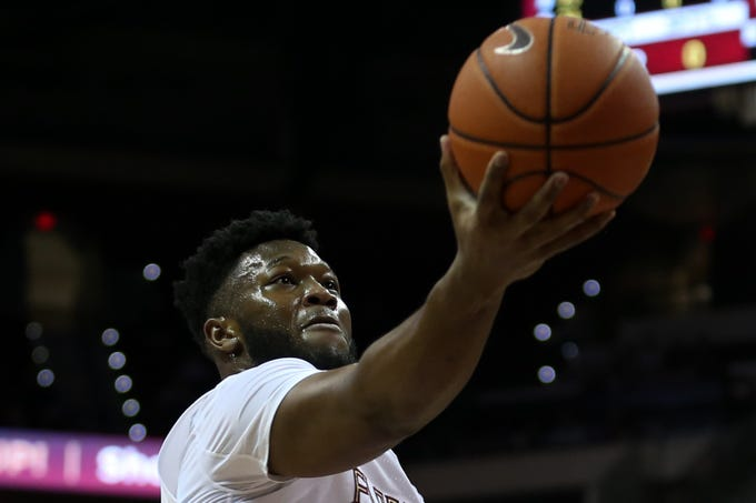 Florida State Seminoles forward Raiquan Gray (1) puts up a shot during a game between FSU and Louisville at Donald L. Tucker Civic Center Monday, Feb. 24, 2020.