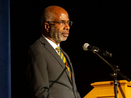 Florida A&M University President Larry Robinson presents the State of the University Address at Lee Hall Auditorium, Tuesday, Feb. 25, 2020.