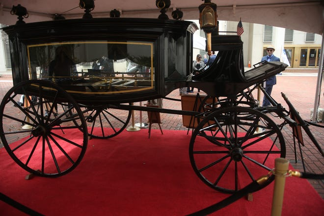 An 1860's horse-drawn hearse that carried the body of Abraham Lincoln during his 12-day funeral procession from Washington, D.C. to Springfield, Ill. was displayed in the Capitol Courtyard as part of Independent Funeral Directors of Florida Day Tuesday, Feb. 25, 2020.