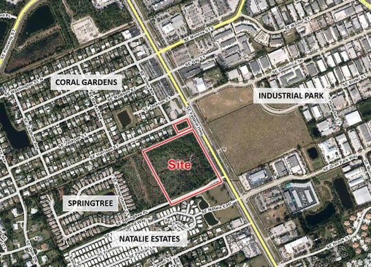 The location of a proposed 280 town homes in Stuart.