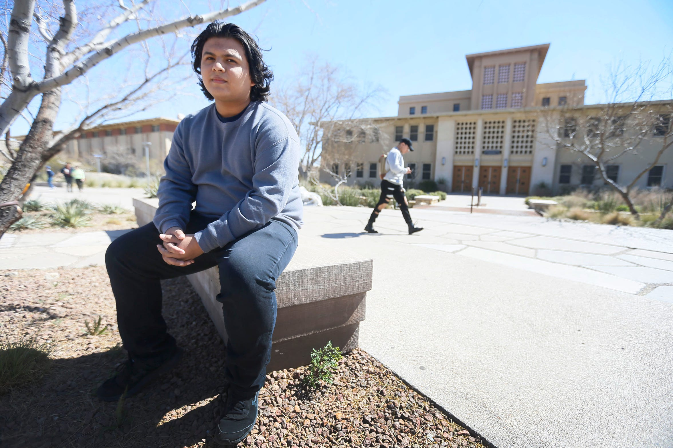 Steven Garza, a member of Texas Young Democrats, is shown Tuesday, Feb. 25, 2020, at the University of Texas at El Paso. In the 2018 general election, Garza had a problem voting. His ballot wasn't counted; he was told he had voted in the wrong precinct.