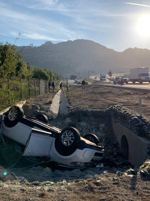 The aftermath of a fatal single-vehicle crash on the Kuehner Drive onramp to Highway 118 in Simi Valley on Feb. 24, 2020.