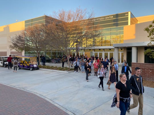 Students, faculty and staff at California Lutheran University leave a forum on the racial climate at the campus on Feb. 24, 2020.