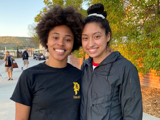 Brittany Toney, left, and Denaya Wickett, both sophomores at California Lutheran University, are shown after a forum about the school's racial climate on Feb. 24, 2020.