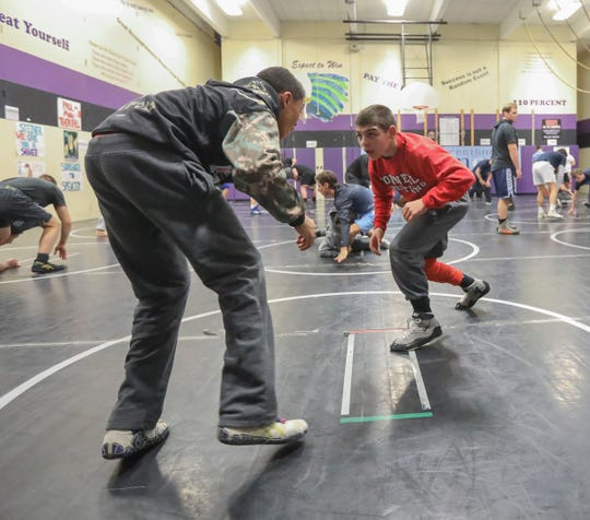P.J. Duke, a seventh-grader from Carmel, takes part in a Section 1 wrestling combined practice at John Jay Middle School in Cross River on Tuesday, February 25, 2020 ahead of the NYSPHSAA state championship meet.