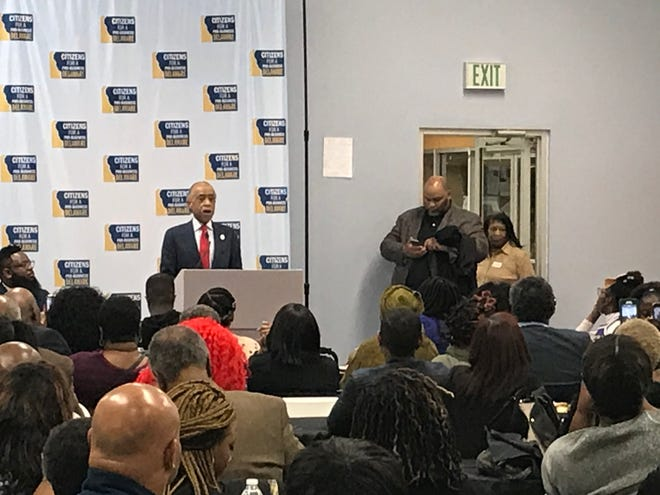 Civil Rights icon Al Sharpton speaks to an audience in Wilmington.