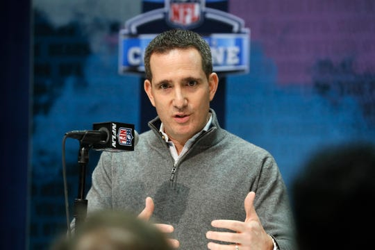 Philadelphia Eagles general manager and executive vice president Howie Roseman speaks during a press conference at the NFL football scouting combine in Indianapolis, Tuesday, Feb. 25, 2020. (AP Photo/Charlie Neibergall)