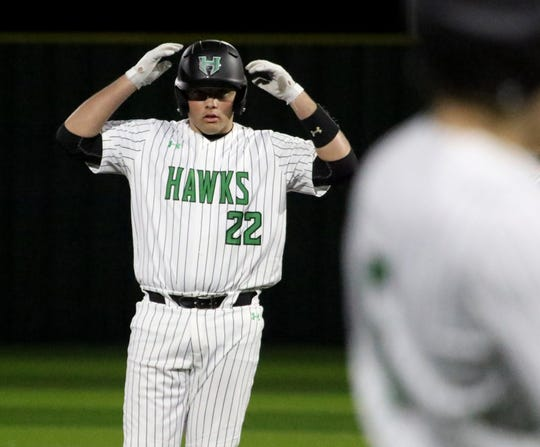 Iowa Park's Samuel McFadden made it to second on a double against Paradise Monday, Feb. 24, 2020, in Iowa Park.