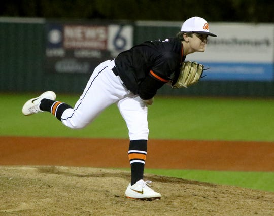 Burkburnett's Cayden Blanton pitches against Wichita Falls High Monday, Feb. 24, 2020, at Hoskins Field.