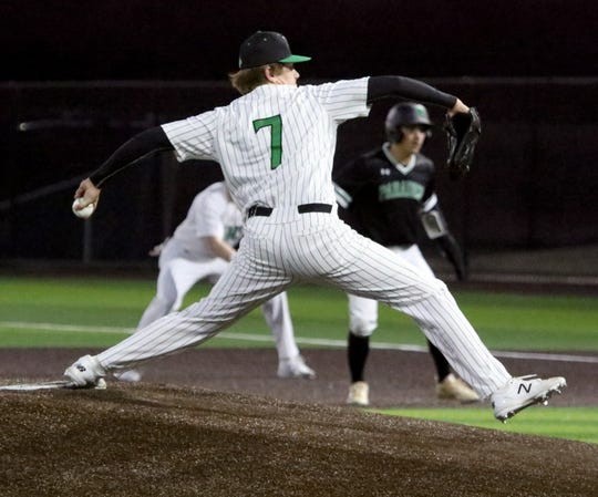 Iowa Park's Logan Kimbro pitches against Paradise Monday, Feb. 24, 2020, in Iowa Park.