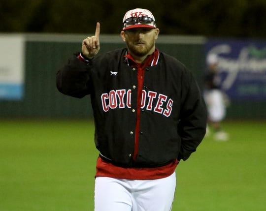 Wichita Falls High head baseball coach Chance Evans in the game against Burkburnett Monday, Feb. 24, 2020, at Hoskins Field.