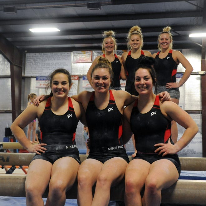 Members of the Sheridan High School gymnastics team will compete in their fourth straight state meet on Friday and Saturday. The team is led by three seniors (back row, left to right) Sarah Snider, Emily Bobo, Madison Snider. The front row (L to R) features sophomore Shannon Hogan, junior Rylee Rodich and sophomore Keegan Hogan.