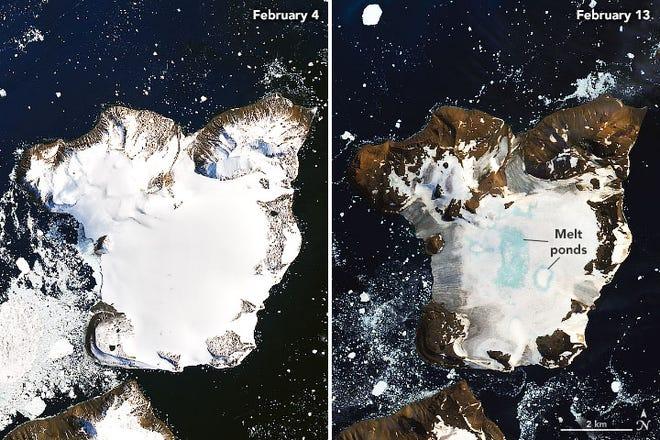 A pair of NASA satellite images taken nine days apart shows dramatic melting of snow on Eagle Island, Antarctica.
