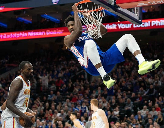 Feb. 24: The Philadelphia 76ers' Joel Embiid dunks the ball against the Atlanta Hawks at Wells Fargo Center.