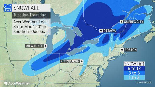 Millions await snow and bitter cold as storm moves from the Midwest to the Northeast