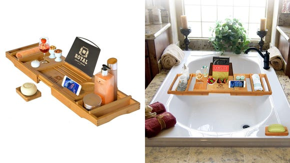 The Royal Craft Wood Luxury Bathtub Tray elevates your bathtub experience.