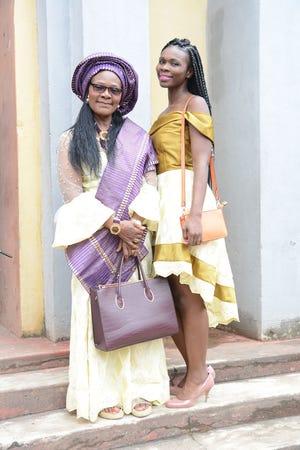 Rita Omokha and her mother, Patience Omokha (wearing the Nigerian headpiece gele), visiting Benin City, Nigeria, in 2017.