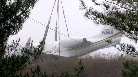 The recovery operation for a plane that skidded off the runway at Monmouth Executive Airport in Wall gets underway Wednesday morning, February 26, 2020.  Five people who were aboard the plane were not injured in the incident that happened shortly before midnight.