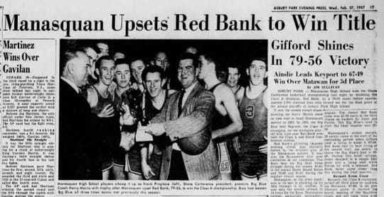 A story from the Asbury Park Press on Feb. 27, 1957, details Manaquan High School's last Shore Conference Tournament boys basketball championship.