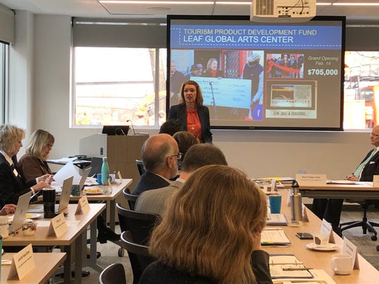 Stephanie Brown, president & CEO of the Explore Asheville Convention & Visitors Bureau, presents to the Buncombe County Tourism Development Authority board on Feb. 26, 2020. Brown said Buncombe is expecting about 800 new hotel rooms to come online in 2020.
