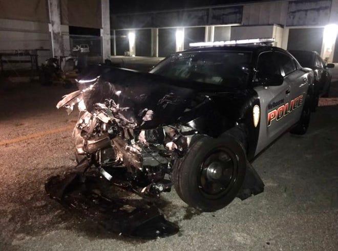 Melbourne Police Sgt. Charlie Braden's cruiser was severely damaged in the December 2017 crash.