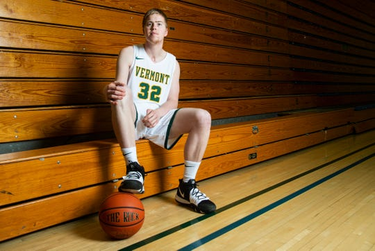 Vermont basketball player Josh Speidel poses for a portrait at Patrick Gym on Wednesday morning February 26, 2020 in Burlington, Vermont.
