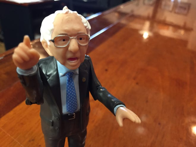 A Bernie Sanders action figure in action at Queen City Brewery in Burlington on Feb. 25, 2020.