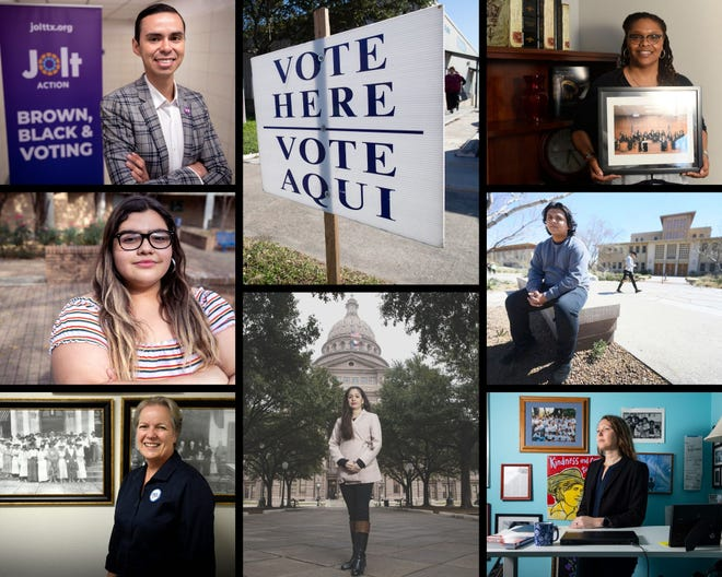 Pictured as part of the Barriers to the Ballot Box series are Antonio Arellano  (top row, from left), interim executive director of Jolt Action; Joella Methola, founder of a Voto Latino chapter at St. Mary's University in San Antonio; Grace Chimene, president of the League of Women Voters of Texa;  Julieta Garibray, lead plaintiff in lawsuit to stop voter roll purge (bottom, center); Harris County Judge Shannon Baldwin, University of Texas- El Paso student Steven Garza; and Beth Stevens, Texas Civil Rights Project's Legal Director of Voting Rights Program.