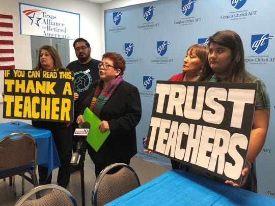 Nancy Vera, president of the Corpus Christi American Federation of Teachers, hosted a news conference in response to a Corpus Christi Independent School District administrator stating that teachers are to blame for low reading scores during a district board meeting Monday.