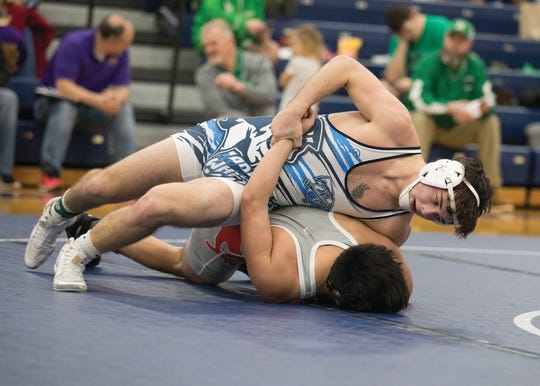 Adena sophomore Isaac Gray wrestles during an SVC tournament held at Southeastern High School. Isaac and his father Matt were integral in help starting a wrestling program at Adena.