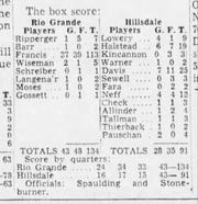 The box score that appeared in the Feb. 3, 1954 Chillicothe Gazette from the game between Rio Grande and Hillsdale.