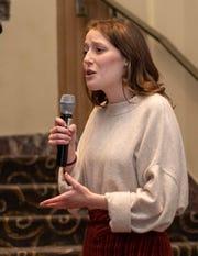 Sarah Johnson speaks at the Cincinnati Rotary's speech competition.