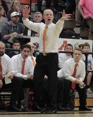 Anderson coach Chris Delotell is very animated from the sidelines.  Anderson and Turpin continue their intense rivalry on Friday night, February 17, 2017.