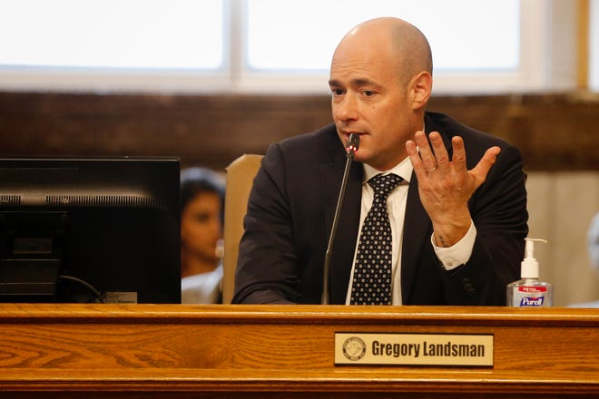 Councilman Greg Landsman makes a statement at Cincinnati City Council on February 26, 2020, calling for the council to move quickly and continue to address the city's issues without distraction.