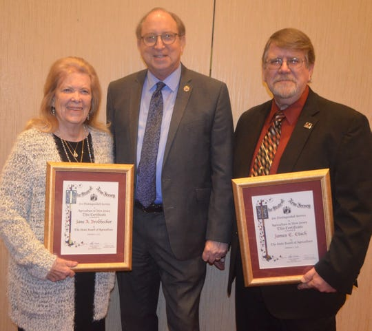 Farmers Jane Brodhecker of Sussex County and James Etsch of Middlesex County were honored last month with Distinguished Service to Agriculture Citations by the New Jersey State Board of Agriculture during the New Jersey State Agricultural Convention in Atlantic City.