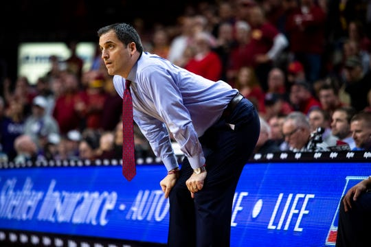 Iowa State Coach Steve Prohm reacts to the game during the Iowa State men's basketball game against TCU on Tuesday, Feb. 25, 2020, at Hilton Coliseum in Ames.