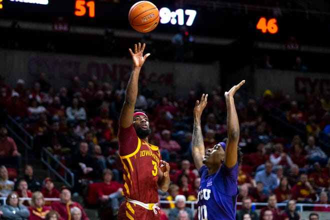 Iowa State's Tre Jackson shoots a layup during the Iowa State men's basketball game against TCU on Tuesday, Feb. 25, 2020, at Hilton Coliseum in Ames.