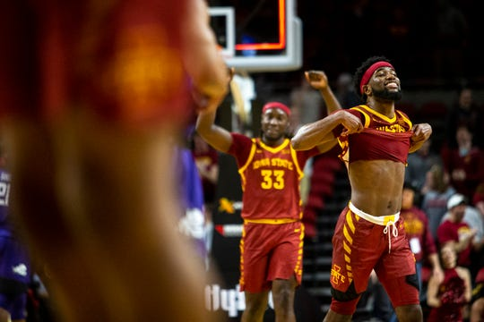 Iowa State's Tre Jackson smiles as he pulls off his jersey at the end of the Iowa State men's basketball game against TCU on Tuesday, Feb. 25, 2020, at Hilton Coliseum in Ames.