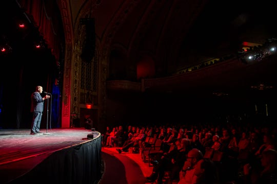 """Dr. Richard Deming tells his story during the Des Moines Storytellers Project's """"What Happens Next"""" event at Hoyt Sherman Place in Des Moines on Tuesday, Feb. 25, 2020."""
