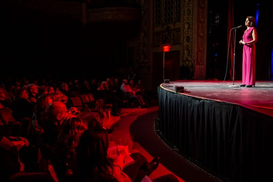 """Erin Kiernan tells her story during the Des Moines Storytellers Project's """"What Happens Next"""" event at Hoyt Sherman Place in Des Moines Tuesday, Feb. 25, 2020."""