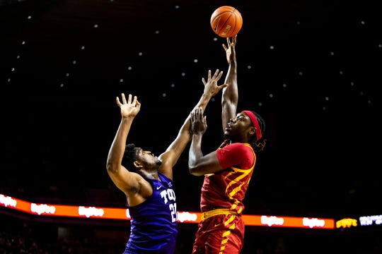 Iowa State's Solomon Young shoots the ball during the Iowa State men's basketball game against TCU on Tuesday, Feb. 25, 2020, at Hilton Coliseum in Ames.