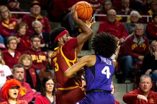 Iowa State's Tre Jackson looks for a pass during the Iowa State men's basketball game against TCU on Tuesday, Feb. 25, 2020, at Hilton Coliseum in Ames.