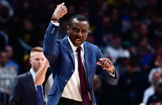 Detroit Pistons head coach Dwane Casey coaches in the second quarter against the Denver Nuggets at the Pepsi Center on Feb. 25, 2020.