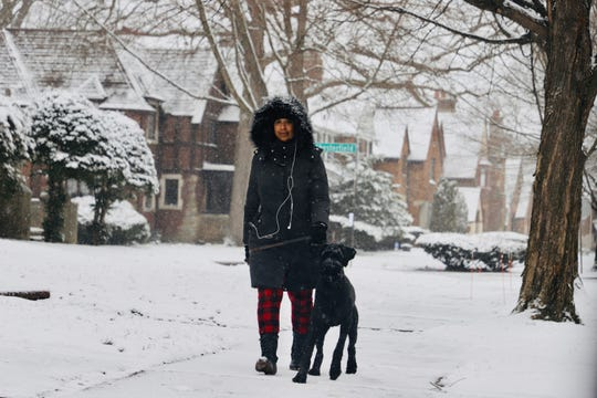 Randi Williams, of Detroit walks her dog Onyx, a giant Schnauzer, while also keeping an eye out for the young man, Jaden Davis, 16; that went missing in Green Acres on Wednesday, Feb. 26, 2020.