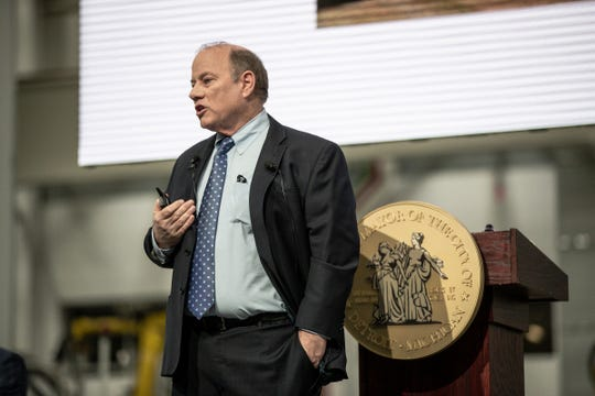 Mayor Mike Duggan delivers his State of the City address at the Flex-N-Gate plant in Detroit, Tuesday, Feb. 25, 2020.